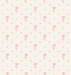 Retro seamless pattern Pink flowers and dots vector