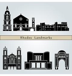 Rhodes landmarks and monuments vector image