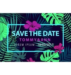 Save the date tropical wedding invitation vector