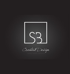 sb square frame letter logo design with black and vector image