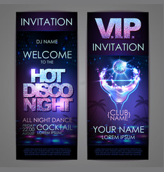 set of disco background banners hot cocktail vector image