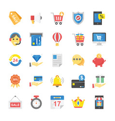 Set of flat online shopping and commerce icon vector