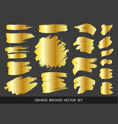 Set of gold paint ink brush strokes brushes vector