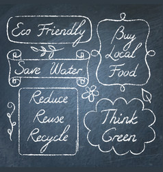 set of hand drawn ecology lettering on chalkboard vector image