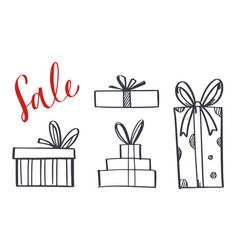 set of hand drawn gift boxes 1 vector image