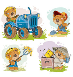 Set of of teddy bears tractor vector