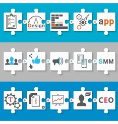 Set schemes infographic app seo smm vector image