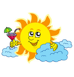 Sun with drink vector