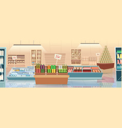 Supermarket cartoon products grocery store food vector