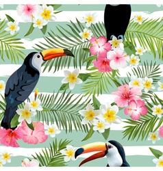 Toucan Bird Background Retro Pattern vector image