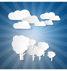 Trees Clouds and Blue Sky Made from Paper vector