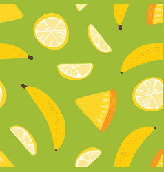 tropical seamless pattern with exotic fresh juicy vector image