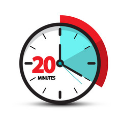 Twenty minutes clock face icon smbol isolated on vector