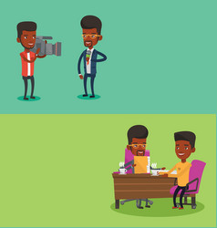 two media banners with space for text vector image