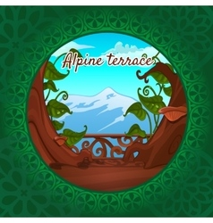 Views alps from terrace green pattern vector