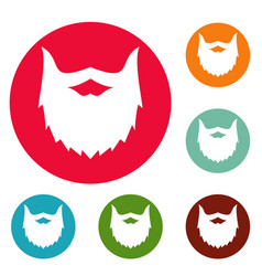 Villainous beard icons circle set vector