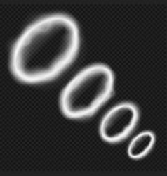 white smoke rings from vape smoking pipe vector image