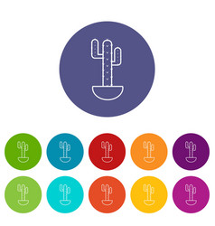 Wilderness cactus icons set color vector
