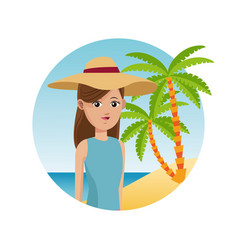 woman travel tourist with hat palm sand beach vector image