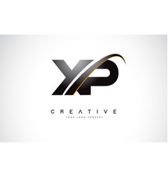 Xp x p swoosh letter logo design with modern vector
