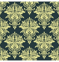 Yellow dainty floral damask seamless pattern vector