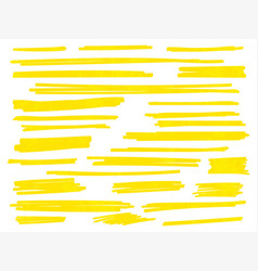 Yellow highlight marker brush lines set vector