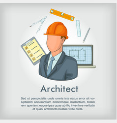 architect concept tools cartoon style vector image vector image