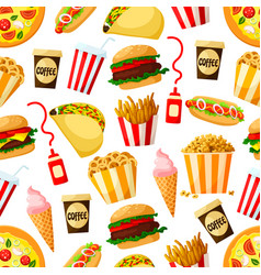 fast food restaurant lunch seamless pattern design vector image