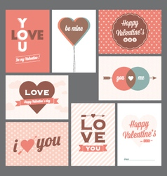 Happy valentines day and weeding cards vector