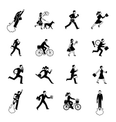 Hurrying Business People Monochrome Set vector image