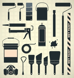 Painting Supplies Silhouettes and Icons vector image vector image
