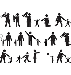 Pictogram people with kids vector image vector image