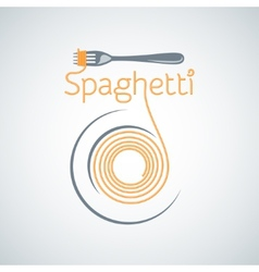 spaghetti pasta plate fork background vector image