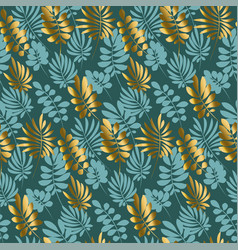 luxury tropical leaves seamless pattern in emerald vector image