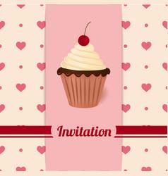Vintage invitation with cherry cream cake vector image vector image