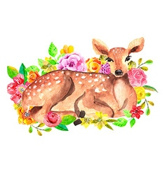 Watercolor deer with flowers vector