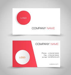 Business card set template Red and white color vector image