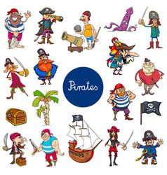 cartoon pirates fantasy characters set vector image