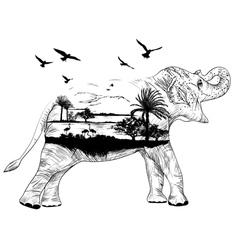 Double exposure African elephant vector image vector image