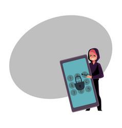 hacker breaking phone smartphone pin code vector image