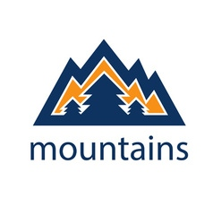 mountains and pines design template vector image vector image