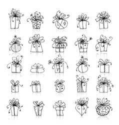 25 gift box icons for your design vector image vector image