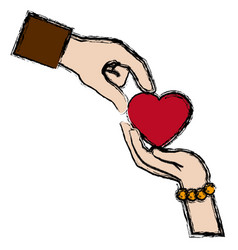couple hands man and female giving heart love vector image