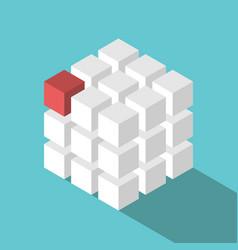 cube assembled of blocks vector image