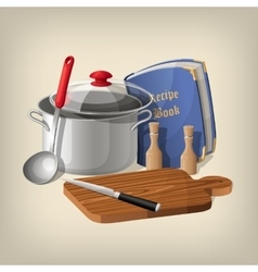 Pan ladle recipe book cutting board and knife vector image vector image