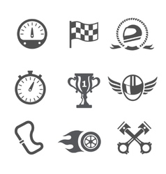 Race icons set Speedometer helmet and cup vector image vector image