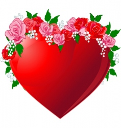 red heart flanked by roses vector image vector image