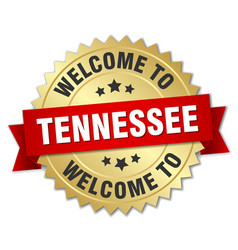 tennessee 3d gold badge with red ribbon vector image