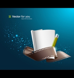 white paper note and film roll vector image