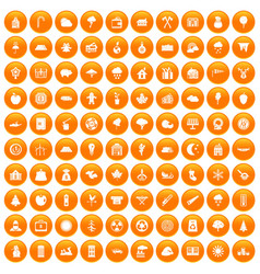 100 lumberjack icons set orange vector